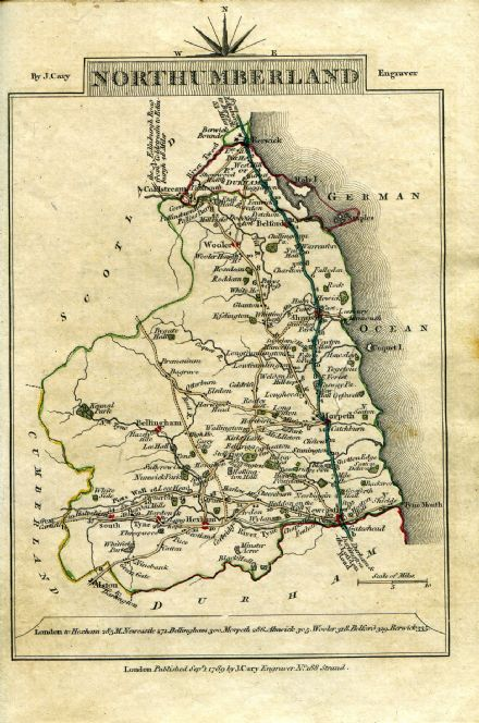 Northumberland County Map by John Cary 1790 - Reproduction